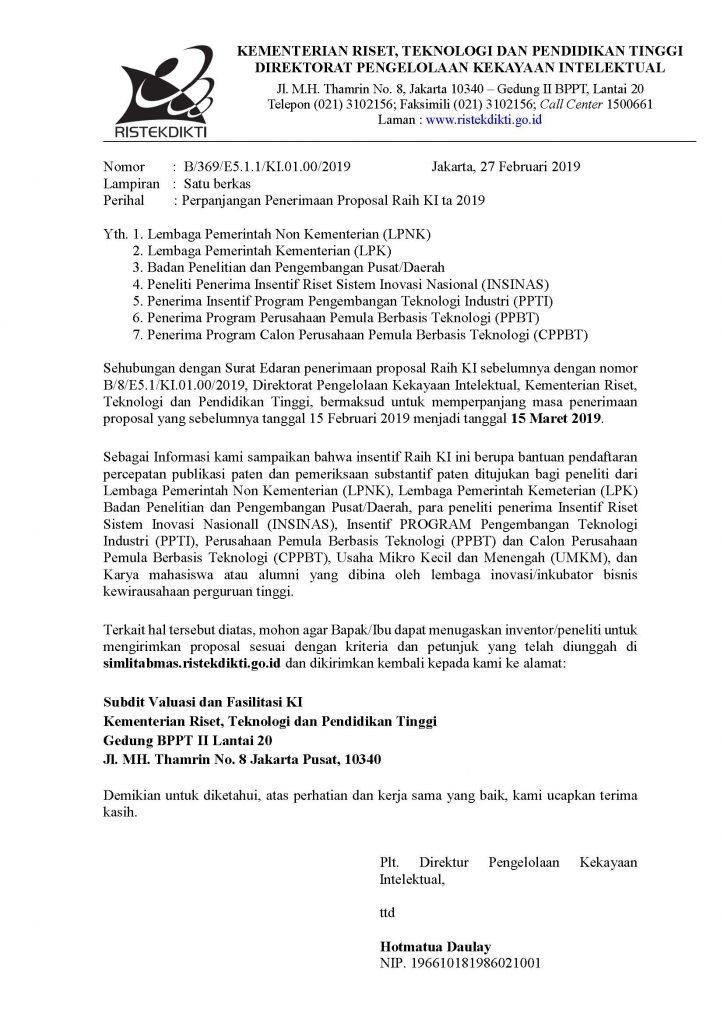 Surat Perpanjangan Penerimaan Proposal Raih KI ta 2019