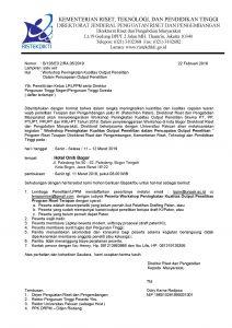 Undangan Workshop Peningkatan Kualitas Output Penelitian Dalam Pencapaian Output Penelitian di Bogor